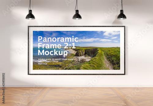 Obraz Panoramic Frame on Wall Mockup - fototapety do salonu