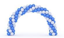 3d Render Of White Blue Arc Balloons Portal Gate