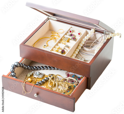 timbered jewellery boxes, isolated on  white background Wallpaper Mural