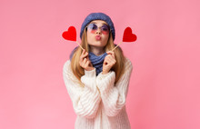 Lovely Girl Holding Heart Card...