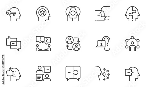 Сommunication Vector Line Icons Set. human communication, personal interaction, dialogue, conversation, discussion. Editable Stroke. 48x48 Pixel Perfect.