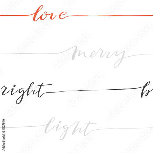 Obraz na plátně Abstract seamless calligraphy pattern with words love, merry, light, bright
