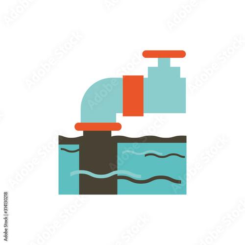 Fototapeta Isolated industrial aqueduct and sea vector design