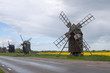 Old wooden windmills on the island Oland, Sweden