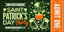 Saint Patrick's Day Party Invitation Design Template In Vintage Style.