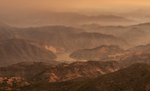 Images Of A Smoke Filled Valley From A Wildfire Near Los Padres National Forest In California.