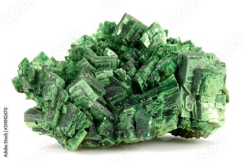Obraz na plátně torbernite (uranium ore) from Margabal Mine, France isolated on white background
