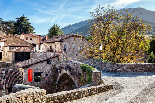 The old stone bridge in Potes, North Spain