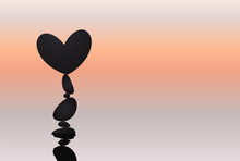 Heart And Stone Balancing, Rock Stacking, Love Symbol Naturally Balanced On Top. Silhouettes With Reflection On Water Surface On Sunset Background. Vector Isolated Illustration. Valentines Day Card.