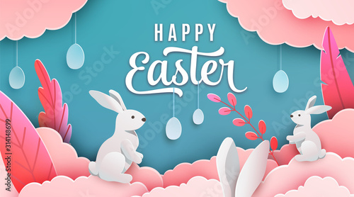 Photo Happy easter banner background