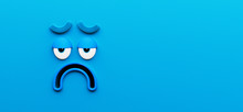 Funny Sad Blue Character Face ...