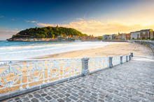 Nice Beach With The Old Town Of San Sebastian, Spain In The Morning