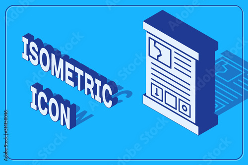 Photo Isometric Game guide icon isolated on blue background