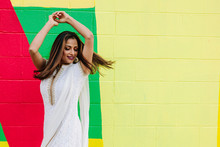 Woman Dancing With Colorful Background