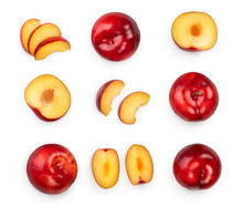 Fresh Red Plum And Half Isolated On White Background. Top View. Flat Lay. Set Or Collection