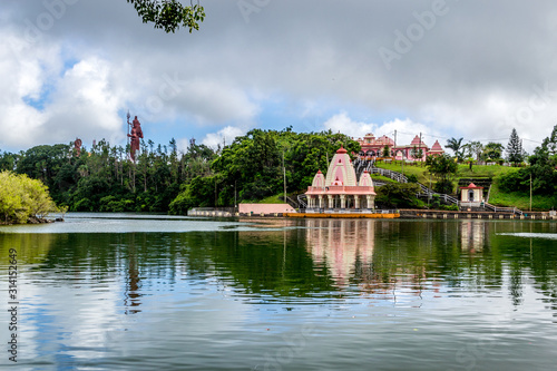 Hindu temples near Grand Bassin aka Ganga Talao crater lake in the centre of Mau Canvas Print