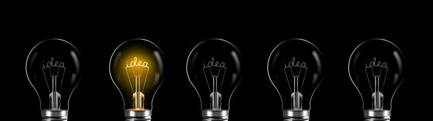 Koncepcja kreatywności i innowacji. słowo pomysł świecące w żarówce
