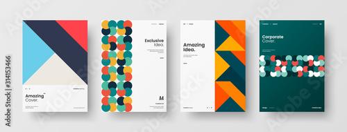 Fotomural Business presentation vector A4 vertical orientation front page mock up set