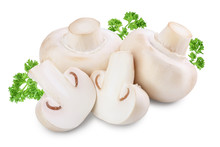 Fresh Mushrooms Champignon And Half Isolated On White Background With Clipping Path