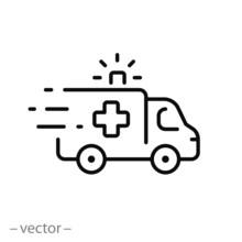 Ambulance Icon, Outline Emerge...