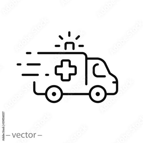 ambulance icon, outline emergency car, medicine van, care medic support, thin li Canvas Print
