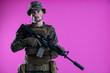 canvas print picture - modern warfare soldier pink backgorund