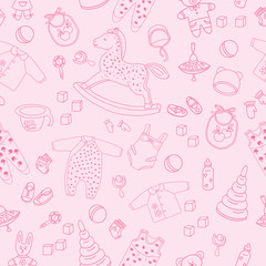 Pattern of children's things and toys hand drawn doodle. Outline on the pink background. Vector illustration for backgrounds, web design, design elements, textile prints, covers, greeting cards.
