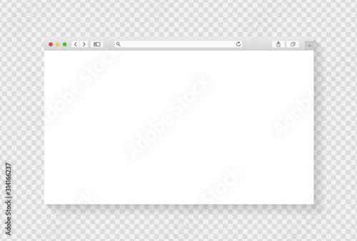 Modern browser window design isolated on transparent background Canvas Print
