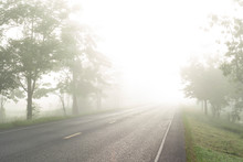Country Road With Fog In The M...