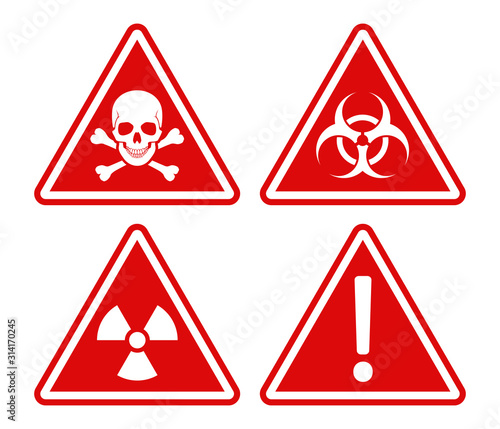 Photo Red triangle warning and danger signs white frame