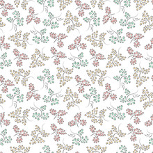 Pastel Floral Ornament On White Background. Leaves Seamless Pattern.