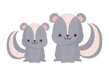 Kawaii Skunks Cartoons Vector ...