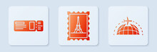 Set Postal Stamp And Eiffel To...