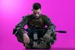 canvas print picture - soldier meditation