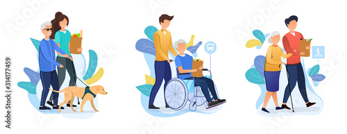 Obraz Three designs depicting old age care for retirees with carers helping an elderly person with dog, in a wheelchair and using a walking stick with their shopping, vector illustration - fototapety do salonu