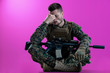 canvas print picture - soldier with problems