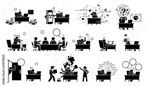 Fotomural Busy executive, CEO, worker, or businessman at office stick figure pictogram icons