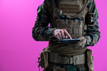 Soldier Using Tablet Computer ...