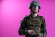 canvas print picture soldier using tablet computer closeup