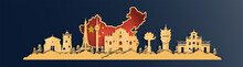 China Map With Macau Skyline, World Famous Landmarks In Paper Cut Style Vector Illustration