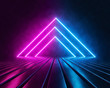canvas print picture Futuristic Sci Fi Triangle Shaped Pink And Blue Neon Glowing Lights In Empty Dark Room. abstract background, virtual reality, vibrant colors, laser show. 3d rendering