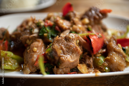 Thai spicy stir fried beef with basil Canvas Print