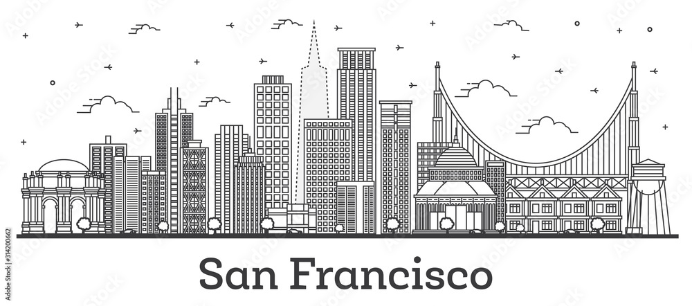 Fototapeta Outline San Francisco California City Skyline with Modern Buildings Isolated on White.