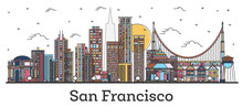 Outline San Francisco California City Skyline With Color Buildings Isolated On White.
