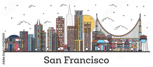 Photo Outline San Francisco California City Skyline with Color Buildings Isolated on White