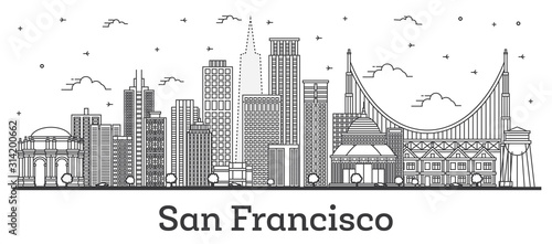 Photo Outline San Francisco California City Skyline with Modern Buildings Isolated on White