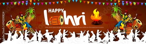 Fototapeta Punjabi festival of lohri celebration bonfire background with wishes of Happy Lo