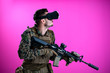canvas print picture - soldier in battle using virtual reality glasses