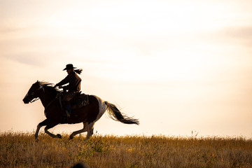 cowgirl galloping silhouette