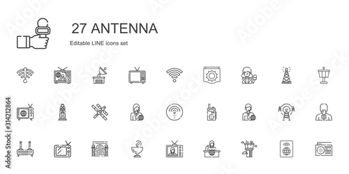 antenna icons set Canvas Print